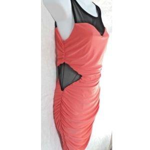 Soprano Side Illusion Cutout Dress Bodycon Ruched